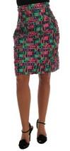 Dolce & Gabbana Pink Green Jacquard Pencil Skirt - $446.80