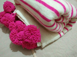 Creamy & Pinky Amazing Moroccan Hand-Loomed Pompom BLANKET, 100% natural organic - $99.00