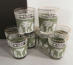 Jeannette HELLENIC Shot Glass Tumbler (s) LOT OF 8 Grecian Green Satin B... - $18.76