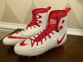 Nike Force Savage Elite TD Football Cleats 857063-188 Size 14.5 White and Red - $29.82