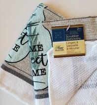 KITCHEN LINENS SET 6pc Home Sweet Home Towels Cloths Potholders Lavender Grey image 4