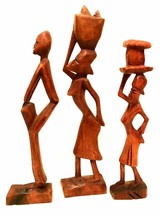 Haitian or African Wooden Figurines Hand Carved Tribal Art Sculptures 12... - $37.62