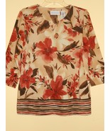 Alfred Dunner Brown Beige Earth-Tones Floral Pullower Top Tunic Size S MINT - $23.19