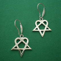Handmade 925 Sterling Silver Him Heartagram Hoop Earring - £32.12 GBP