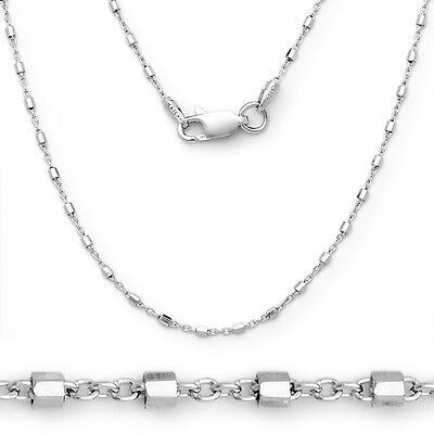 1.5mm 925 Sterling Silver 14k White Gold Bead Cable Italian Chain Necklace