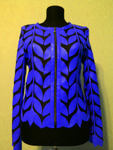 Round Neck Blue Real Leather Leaf Jacket Womens All Colors Sizes Zip Sho... - $115.00