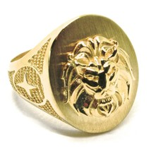 SOLID 18K YELLOW GOLD BAND MAN RING, LION HEAD IN RELIEF, OVAL, VERY DETAILED image 1