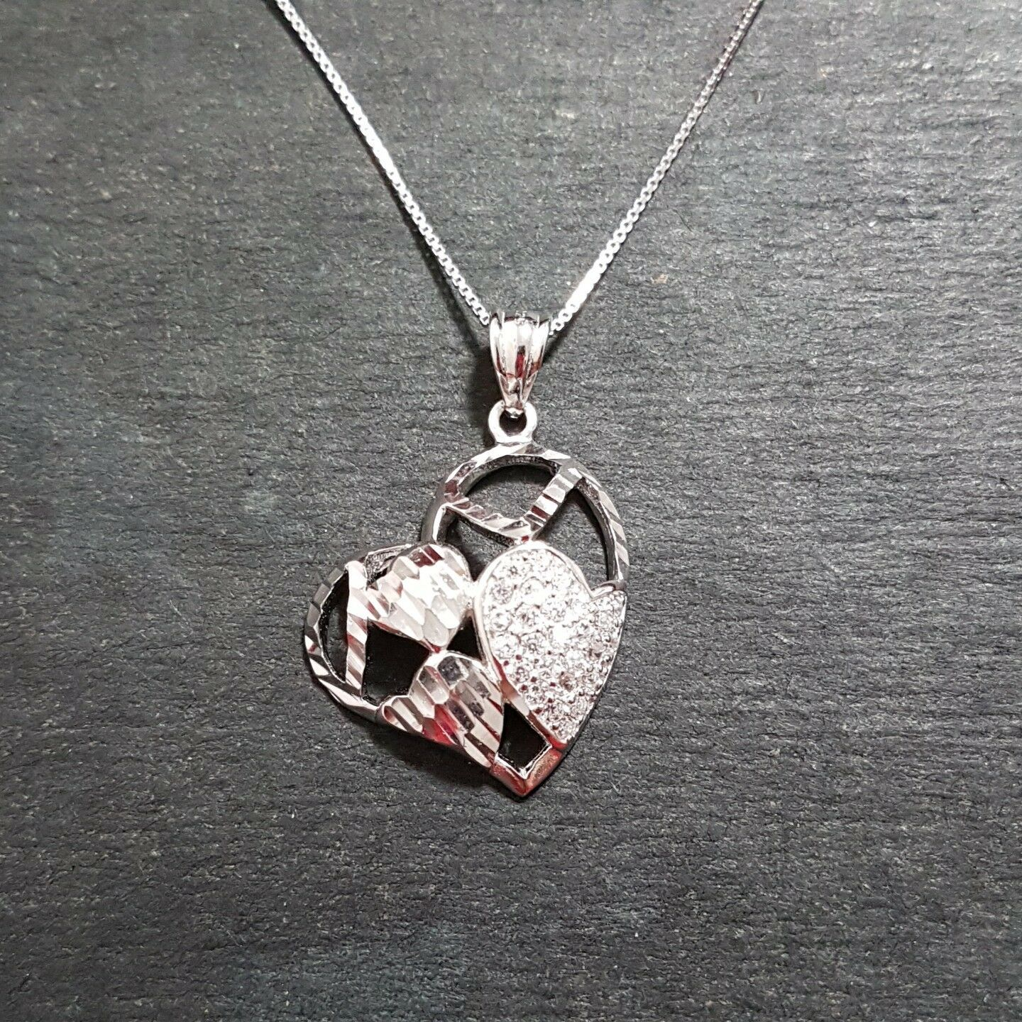 Primary image for New 14k White Gold on 925 Encompassed Hearts Charm Pendant with free chain