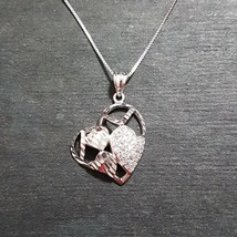 New 14k White Gold on 925 Encompassed Hearts Charm Pendant with free chain - $35.76
