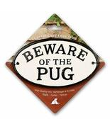 Beware of The Pug Cast Iron Oval Sign - $19.59