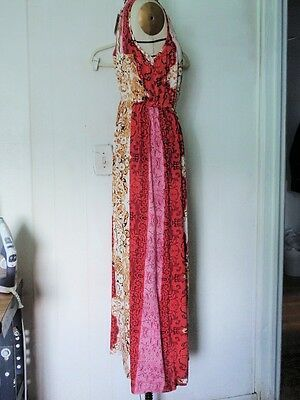 NEW FOREVER 21 RAYON MULTI-COLOR RED PAISLEY A-LINE MAXI SLEEVELESS DRESS L