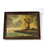 """Very Old Original Windmill """" MOSER """" Signed Oil on Canvas 18"""" X 23.5"""" Painting - $564.22"""
