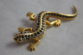 Vintage Jewelry Brooch Figural Lizard Rhinestone Pin Blue Green Crystal - $195.00