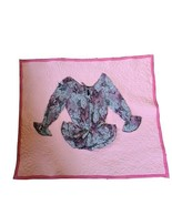 """Handmade Lap Quilt with Blouse Appliqued Pink Unique Wall Quilt 35"""" x 42... - $17.07"""