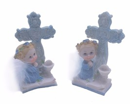 2 piece Communion Christening Baptism Boy Angel next to Cross and Chalic... - $7.91