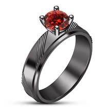 Round Cut Red Garnet 14k Black Gold Plated 925 Silver Solitaire Engagement Ring - $84.14