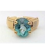 Faceted Blue Topaz Gold Wire Wrap Ring sz 8 - $43.00