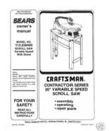 "Craftsman 20 "" Scroll Saw Manual Model # 113.236400 - $10.88"