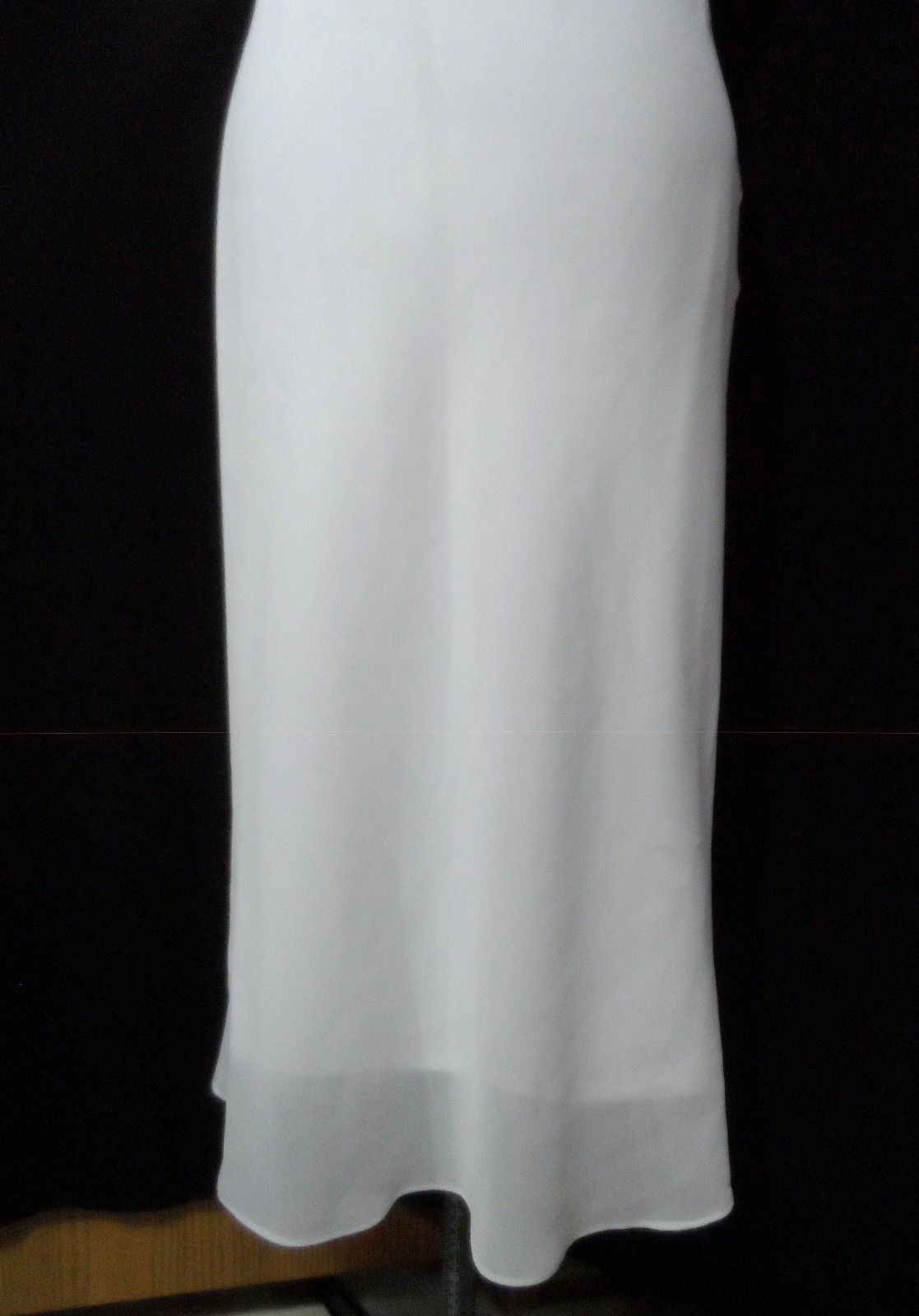 WINDSOR Simple Floor Length WEDDING DRESS SM White Empire waist Beaded Straight