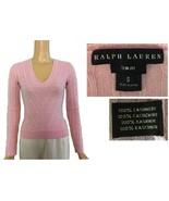 Ralph Lauren Black Label Slim Fit Pink V-Neck Cable Knit Cashmere Sweater S - $145.00