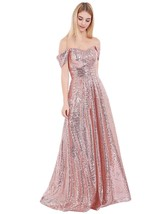 Women 2019 Off Shoulder Sequin Prom Dresses A Line Long Evening Bridesma... - $109.99