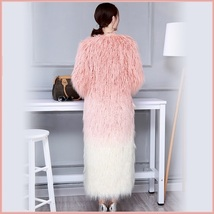 Shaggy Gradual Pink Long Hair Mongolian Sheep Faux Fur Long Length Winter Coat image 4
