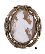 Ariadne wife of Bacchus, Victorian shell cameo brooch in ornate pinchbec... - $259.00