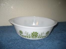 Vtg Ovenware Glasbake Bowl Jennette Green Daisy Flowers USA 2 Quart J514 - $9.85