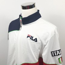 Fila Sport Mens XL Italia Full Zip Track Jacket Red White Blue Soccer Wa... - $37.36