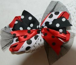 Unbranded White Headband Large Polka Dot Bow Red White and Black image 7