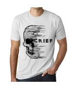Men's Vintage Tee Shirt Graphic T shirt Anxiety Skull GRIEF Vintage White - $15.95