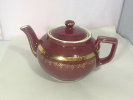 Hall Pottery 6 Cup Tea Pot #013 Burgandy w/ Gold Gilded Accents Made in USA - $24.99