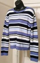 Sonoma Genuine Jean Company Women's XL Striped Stretch Sweater Blue Black White  - $10.89