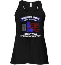 Police Officer Daughter Flowy Racerback Tank Thin Blue Line USA Flag K9 - $26.95+