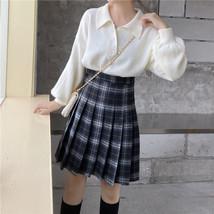 Navy Blue Plaid Skirt Knee Length Pleated Plaid Skirt Plus Size Plaid Midi Skirt image 9