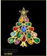 Eisenberg Ice Signed Christmas Tree Pin Pear Shape Rhinestones (#J1260) - $60.00