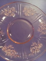 Pink Depression Glass Saucer in the Sharon Cabbage Rose Pattern - $10.00