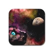 Rubber coasters set of 4, Cat 619 moon stars space galaxy L.Dumas - $10.99