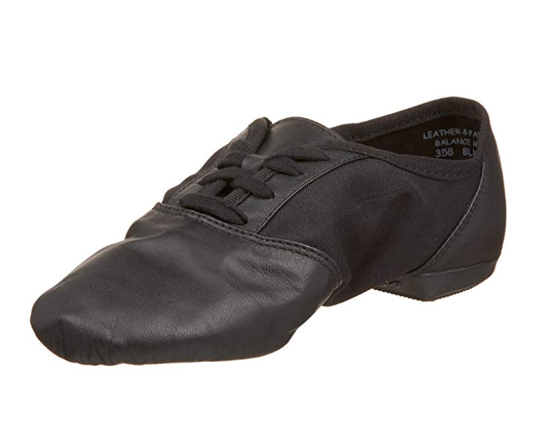 "Capezio 358 Black Adult 3W(fits Toddler 12) ""Split Sole Jazz"" Lace Up Jazz Shoes"