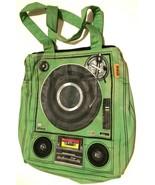 """III Parcel Turntable Cassette Green 16"""" Tote Bag Built in Speakers Media... - $49.49"""