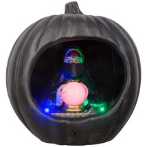 "Gemmy Halloween Diorama Lighted and Sound Fortune Teller in Pumpkin New 9"" - £22.96 GBP"