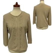 Ann Taylor women's cardigan angora rabbit hair beige embroidery size L - $19.48