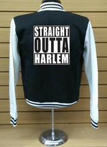 Straight Outta Harlem Letterman Varsity Baseball BLACK/WHITE Fleece Jacket - $29.69+