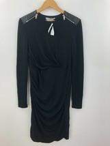 Sportmax Max Mara Sheath Dress Womens Large Black Wool & Leather! NWOT A... - $96.89