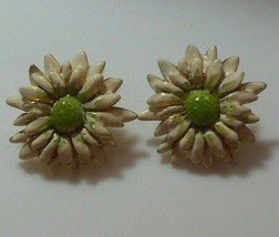 Vintage Signed E.Pearl Enamel Flower Pierced Earrings  - $44.55