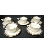 Five Syracuse China Gold Encrusted & Cobalt Blue Cups & Saucers * Wayne Blue - $23.93