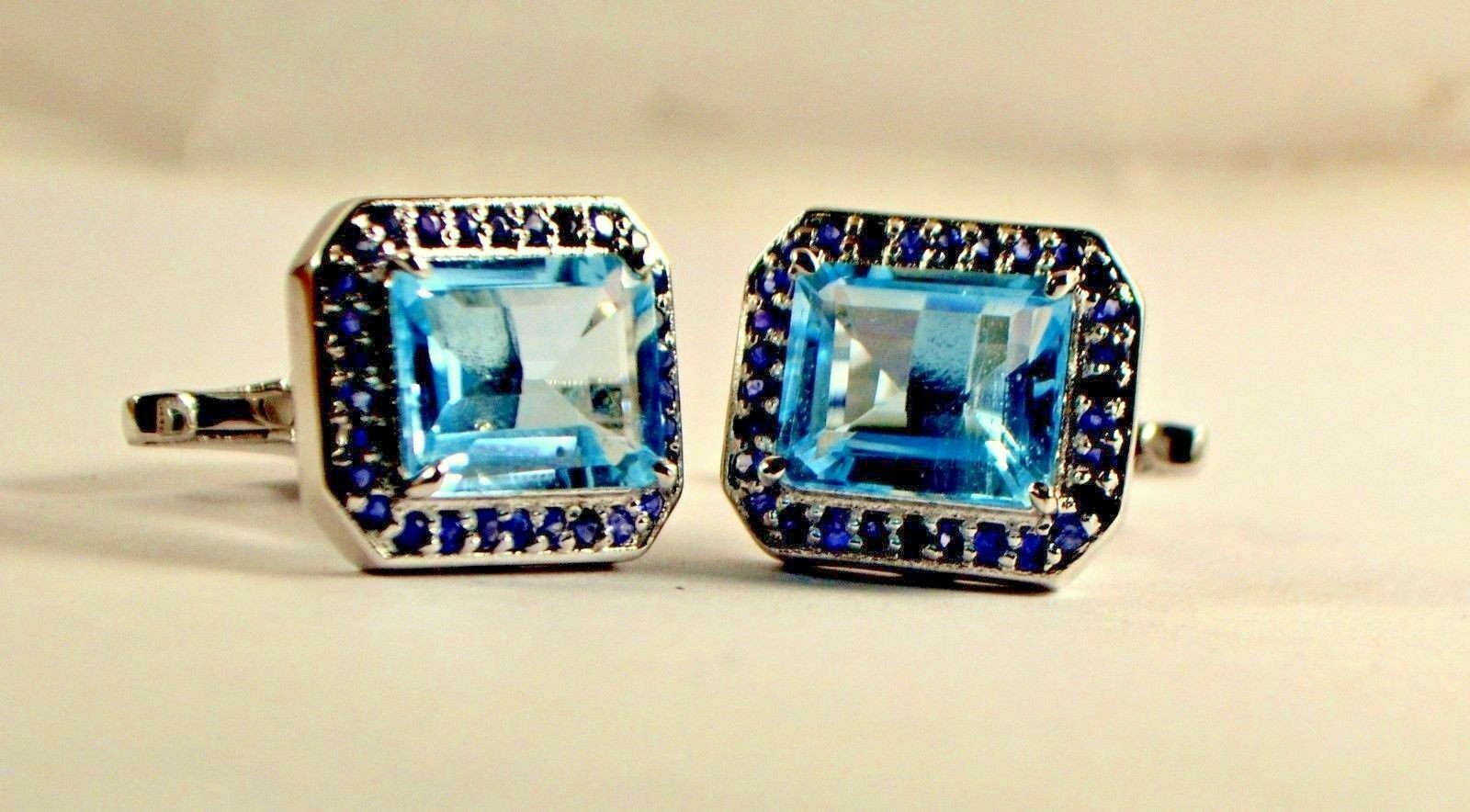 925 Sterling Silver Natural Fine Quality Blue Topaz And Blue Sapphire Gemstone A