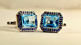 925 Sterling Silver Natural Fine Quality Blue Topaz And Blue Sapphire Gemstone A image 1