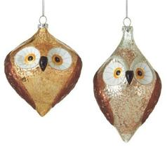 Brown Gold and Silver Pair of Wise Owls Holiday Ornaments Set of 2 Midwest CBK - $93.81