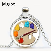 2019 New Fashion Color Palette Photo Cabochon Glass Tibet Silver Chain P... - $7.89